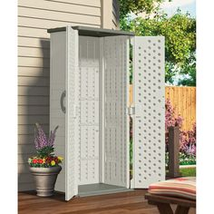 Shop Suncast Vanilla Resin Outdoor Storage Shed (Common: 32.25 In X 25.5