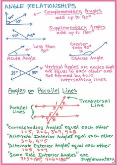 This pin shows EVERYTHING you need to know about angle relationships for the SAT test! Math Tutor, Teaching Math, Teaching Geometry, Math Math, Math Education, Math Fractions, Physical Education, Life Hacks For School, School Study Tips