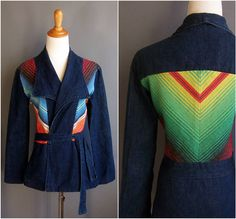 1970s wrap jacket belted with serape stripe inserts by edgertor