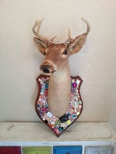 Mounted Deer Head Taxidermy Wall Mount Embellished with Jewels, Gems, and Stones on Etsy, $350.00