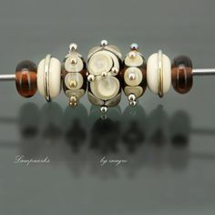 marasco n.10 set of 7 pcs handmade lampwork beads by inagro