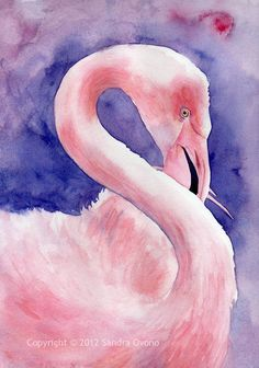 Flamingo purple and pink watercolor painting by NauticByNature, €58.00