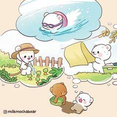Summer Activities ☀️ --- - Monday of August 2018 PM Cute Couple Cartoon, Cute Love Cartoons, Cute Cartoon, Cute Bear Drawings, Cute Love Gif, Bear Wallpaper, Dibujos Cute, Kawaii Cat, Cute Doodles