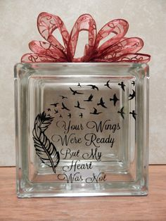 memorial glass block with lights, your wings were ready my heart was not, free bird, feather, memorial, lighted glass block by OSewYou on Etsy