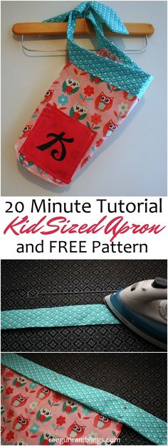 Perfect for teaching kids to sew! Great fast and easy child sized apron pattern and tutorial. Perfect for sewing beginners.