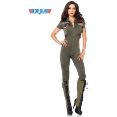 Sexy Top Gun Flight Suit Costume for Women ($65) ❤ liked on Polyvore featuring costumes, halloween, halloween costumes, multicolor, sexy women halloween costumes, sexy angel costume, top gun flight suit, womens angel costume and angel halloween costume