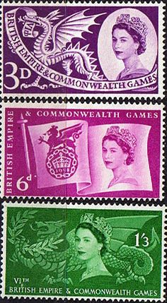 Great Britain 1958 British Empire and Commonwealth Games Set Fine Mint SG Scott Other British Stamps HERE Buy Stamps, Rare Stamps, Postage Stamp Design, Postage Stamps, British History, Mail Art, Stamp Collecting, Great Britain, New Zealand