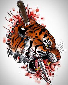 Quick design up for grabs #tattoo #tattoos #tattoodesign #tattooart #tigertattoo #tattooing #tattooed #inked #art #design #drawing #tiger #cat #cattattoo #sword #blood #uk #uktta #uktattoo #newtraditional #neotraditional #neotradsub #neotrad #neojapanese #sketch #tattooist