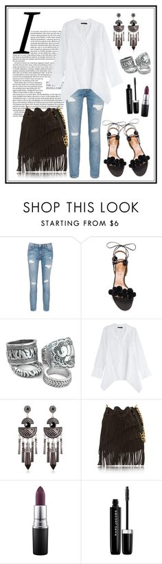 """""""#1870"""" by mar-aloi ❤ liked on Polyvore featuring Current/Elliott, Aquazzura, Donna Karan, Elizabeth and James, MAC Cosmetics and Marc Jacobs"""