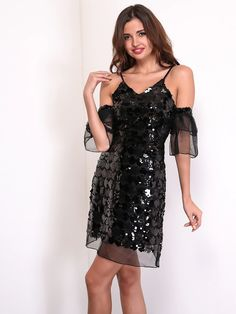 a6632224 Feditch est Sequins V Neck Off Shoulder Mini Dress Sexy Club Party Women  Spaghetti Strap Dresses Fashion Lady Vestido
