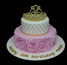 Princess Rose Ruffle Birthday Cake 6 Year Old Tiara Pink And Gold