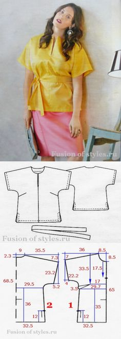 Tunic of the big size with tselnokroyeny sleeves Clothing Patterns, Dress Patterns, Sewing Patterns, Make Your Own Clothes, Diy Sewing Projects, Top Pattern, Sewing Clothes, Refashion, Dressmaking