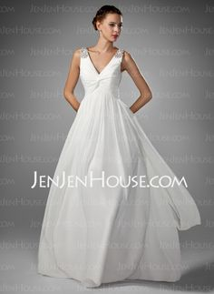 Wedding Dresses - $138.99 - A-Line/Princess V-neck Floor-Length Chiffon  Charmeuse Wedding Dresses With Ruffle  Beadwork  None (002005176) http://jenjenhouse.com/A-line-Princess-V-neck-Floor-length-Chiffon--Charmeuse-Wedding-Dresses-With-Ruffle--Beadwork--None-002005176-g5176