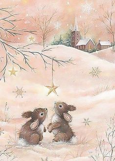 Gentle, kind and very nice illustration of Sarah Summers. Discussion on LiveInternet - Russian Service Online diary Christmas Scenes, Noel Christmas, Christmas Animals, Christmas Pictures, Winter Christmas, Christmas Crafts, Xmas, Christmas Bunny, Illustration Noel