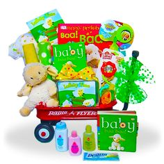 Little Lamb's Wagon of Fun Price: $135.00 #GiftBaskets4Baby #Neutral #gifts #giftbaskets #Baby For more information visit: www.GiftBaskets4Baby.com