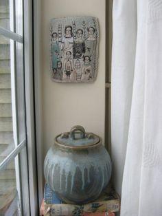 embroidery family. blue black & cream. cathy cullis.