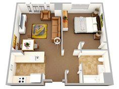 One Bedroom Apartment Floor Plans. One Bedroom Apartment Floor Plans. Great Of 1 Bedroom Apartment Floor Plan Apartment Layout, 1 Bedroom Apartment, Apartment Design, Couples Apartment, Apartment Ideas, One Bedroom House Plans, Bedroom Floor Plans, Studio Floor Plans, Espace Design
