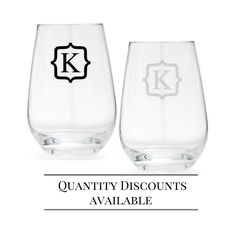 Set of 2 – Personalized Wine Glasses – Stemless Wine Glass – Wedding gift – Gift for couple – monogram – crystal glasses – Schott Zwiesel
