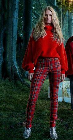 H&M Kerst 2017 Tartan plaid trousers
