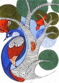 gond art: it is done by largest tribal community of central india called gond Madhubani Art, Madhubani Painting, Worli Painting, Fabric Painting, Arte Tribal, Tribal Art, Doodle Art, Kunst Der Aborigines, Kalamkari Painting
