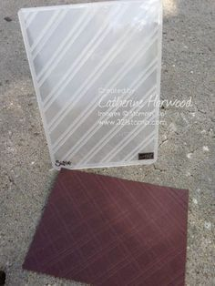 card making tip: Quick Background Idea: Stylish Stripes Becomes plaid ... great look ... luv the double embossing folder looks ... stretch your tools usability ....