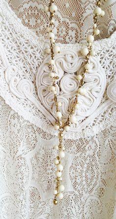 Ivory beaded bohemian gypsy rosary necklace