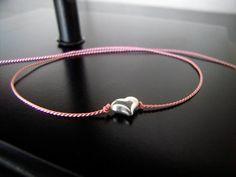 Sterling Silver Original Tiny Puff Heart Pink Wish Bracelet - Breast Cancer Bracelet, Friendship Bracelet, Charm Bracelet. $15.00, via Etsy.