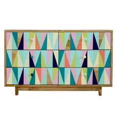 Recycled Timber Six Drawer Pastel