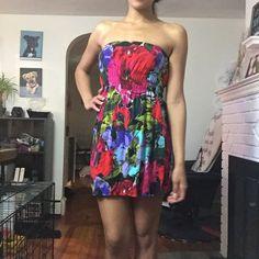 "Strapless Floral Dress Strapless floral dress from Wet Seal. Size Medium. Dress is pretty short. I am 5'6"" for reference. Wet Seal Dresses Strapless"