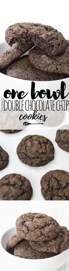One Bowl Double Chocolate Chip Cookies. Out-of-this-world chocolatey, chewy and everything your heart desires from a cookie. More chocolate the merrier in our world and with just one bowl - best cookie ever. (Gluten Free, Dairy Free)