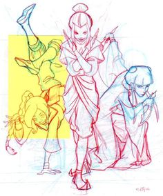 Azula, Mai and Ty Lee pencil drawing by Lauren Montgomery (2006)