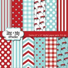 little red wagon in red and aqua digital scrapbook by lane + may, $7.00