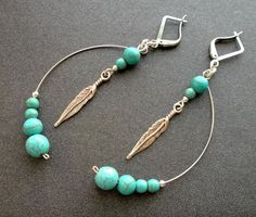 Turquoise earrings. Earrings Dangle. blue Turquoise earrings.