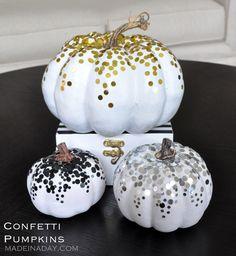 DIY Tutorial, Confetti Pumpkins, easy craft, glue multi sized confetti to faux pumpkins, just a little glue and a bag of confetti and your pumpkins sparkle.