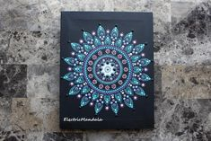 Original 8 x 10 Acrylic Painted Dot Mandala on Canvas with