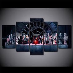 """""""Star Wars The Last Supper"""" 5 Panel Framed Canvas Painting"""