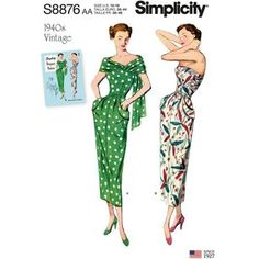 Simplicity Sewing Pattern S8876 Misses'/Women's Vintage Dress and Stole 1940s Vintage Dresses, Vintage Dress Patterns, Vintage Inspired Dresses, Vintage Barbie, Vintage Clothing, Dress Making Patterns, Simplicity Sewing Patterns, Vintage Fashion, 1940s Fashion