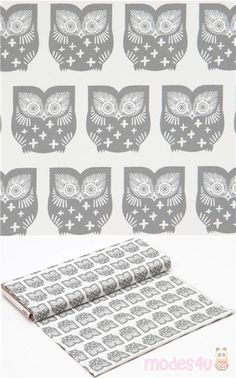 "off-white cotton fabric with grey owls, Material: 100% cotton, Fabric Type: smooth cotton fabric, Pattern Size: size of the owl: ca. 6.3cm (2.5""), Fabric Width: 109cm (43"") #Cotton #Animals #AnimalPrint #Owls #USAFabrics"