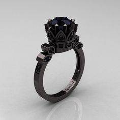 Exclusive Classic Armenian 14K Black Gold 1.0 Black Diamond Ring