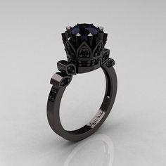 Exclusive Classic Armenian 14K Black Gold 1.0 Black Diamond Ring