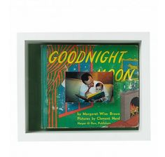 """Darcy's childhood copy of """"Goodnight Moon,"""" a family favorite, fills this box. A photo of husband Andy reading the book to Daisy adheres to the inside of the glass with double-sided tape, and dark-green background paper matches the cover's palette. Scrapbook Box, Margaret Wise Brown, Dark Green Background, Good Night Moon, Making Memories, Family Memories, Childhood Memories, Family History, Shadow Box"""
