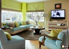 Летняя цветовая комбинация: голубой и зеленый, Дизайн интерьера дома и квартиры | Энциклопедия ремонта |