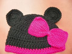 Minnie Mouse Beanie Hat with a Magenta Pink Bow  by Susieskorner, $23.00