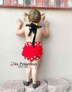 261f879edec0 Minnie Bubble Romper Ruffle Butt Halter Style Mouse Disney Girls Rompers
