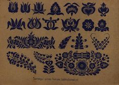pattern for Bauernmalerei Hungarian Tattoo, Hungarian Embroidery, Folk Embroidery, Learn Embroidery, Embroidery Tattoo, Chain Stitch Embroidery, Embroidery Stitches, Embroidery Patterns, Stencil