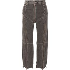 Vetements + Levi's distressed zip-detailed high-rise straight-leg... ($1,660) ❤ liked on Polyvore featuring jeans, vetements, distressed cropped jeans, distressed straight-leg jeans, high waisted jeans, patched jeans and high-waisted jeans