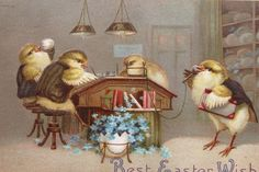 Easter Post Card & Trade Card w/ Dressed Chicks Working 1911 from timeinabottle on Ruby Lane