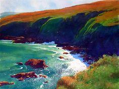Richard Thorn Watercolor Water, Watercolor Artwork, Watercolor Landscape, Art Challenge, Seascape Paintings, Landscape Paintings, Landscapes, Sea Art, Celtic Art