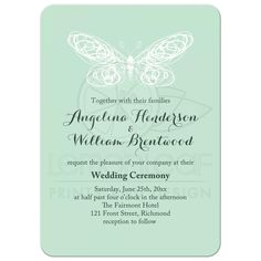 Whimsical Mint Butterfly Wedding Invitation Whimsical Wedding Invitations, Butterfly Wedding Invitations, Wedding Themes, Wedding Mint Green, Green Weddings, Spring Weddings, Butterfly Wedding Theme, Wedding Ceremony, Reception