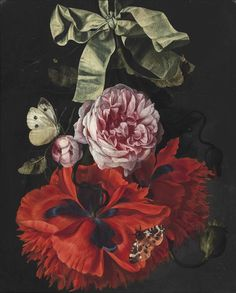Studio of Maria van Oosterwijck (Dutch, 1630 - 1693): Roses and carnations hanging from a green ribbon with a moth and a butterlfy